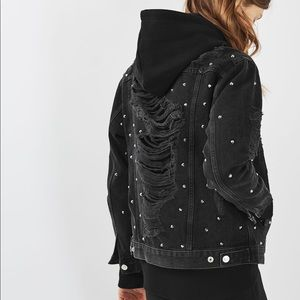 Topshop Studded Distressed Moto Denim Jacket Blk 6